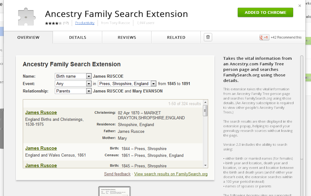 Chrome Web Store Ancestry Family Search Extension
