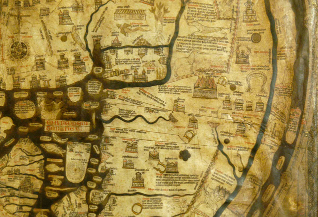 Mappa Mundi 1300 intact at Hereford Cathedral Intriguing Family