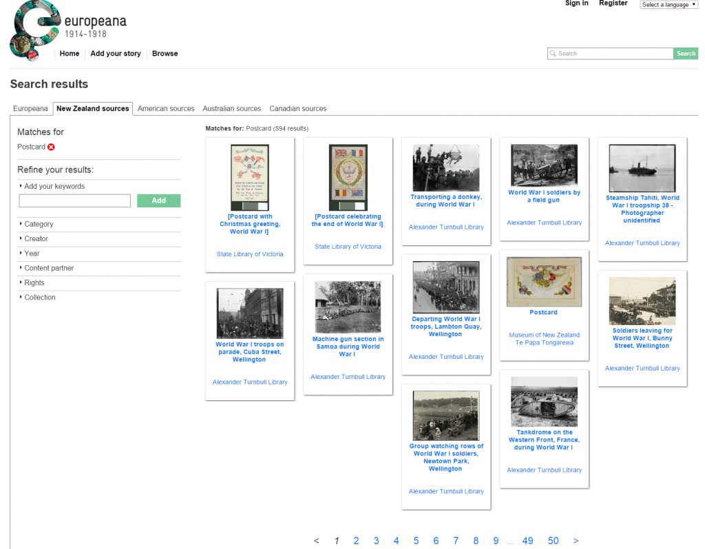 WW1 Postcards database search online